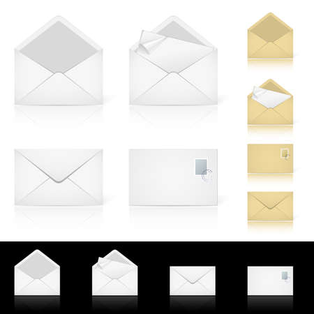 Set of different icons for e-mail. Illustration for design on white background Vector