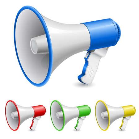 alertas: Altavoz como icono de anuncio. Ilustraci�n en blanco
