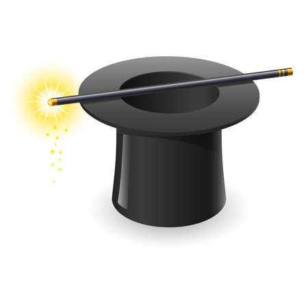 conjurer: Magic wand and hat. Illustration on white background
