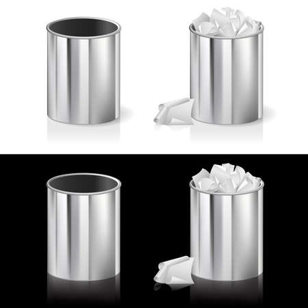 corporate waste: Realistic bin. Illustration for design on white and black background Illustration
