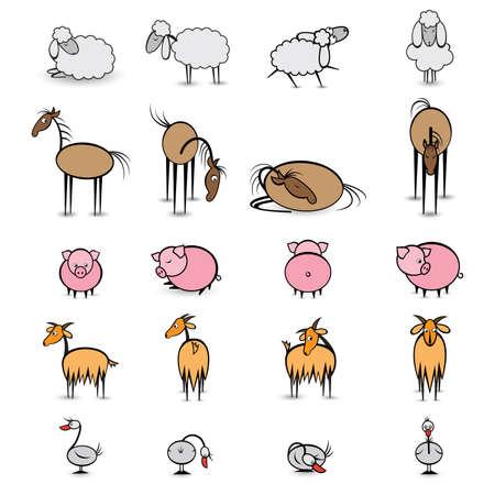 Set of various animals living on the farm. Illustration on white background  illustration