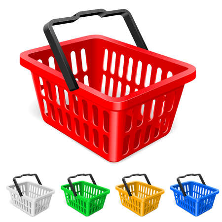 basket: Colorful shopping basket. Illustration on white background