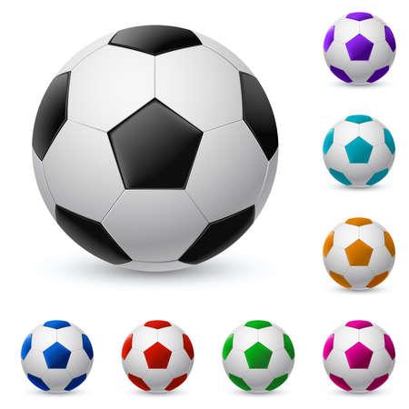 balon soccer: Balón de fútbol realista en diferentes colores. Ilustración sobre fondo blanco  Vectores