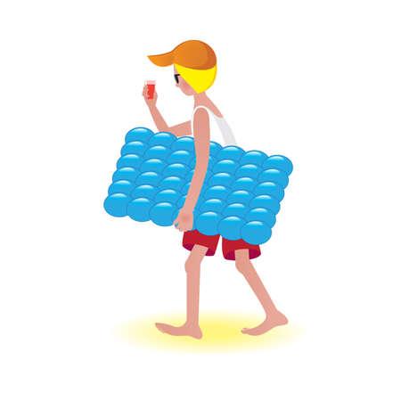 Boy on air mattress. Illustration on white background  Stock Vector - 9892305