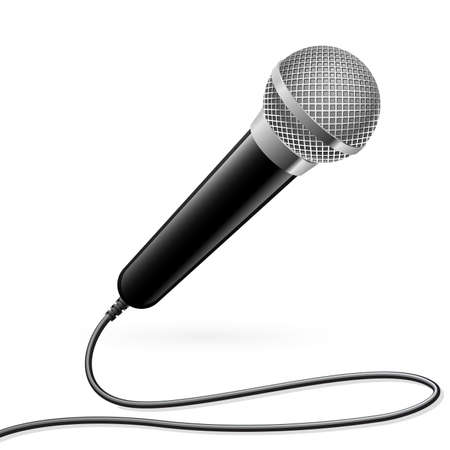 microfono radio: Micr�fono para Karaoke. Ilustraci�n sobre fondo blanco Vectores