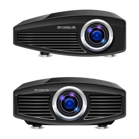 home video camera: Realistic multimedia projector. Illustration on white background for design