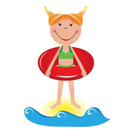 lifeline: Cartoon little girl with a lifeline. Illustration on white background