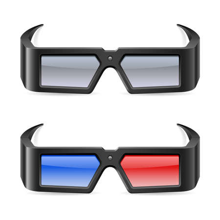 eyeglass: 3d cinema glasses. Illustration on white background