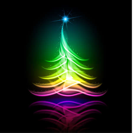 Abstract glowing background. Color Christmas tree. Vector