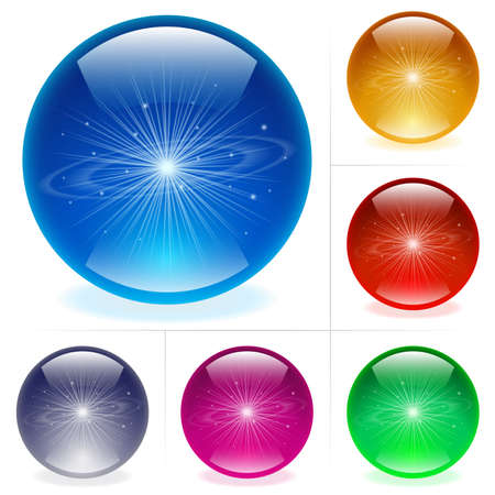 Collection of colorful glossy spheres isolated on white. Solar system. Stock Vector - 9892310