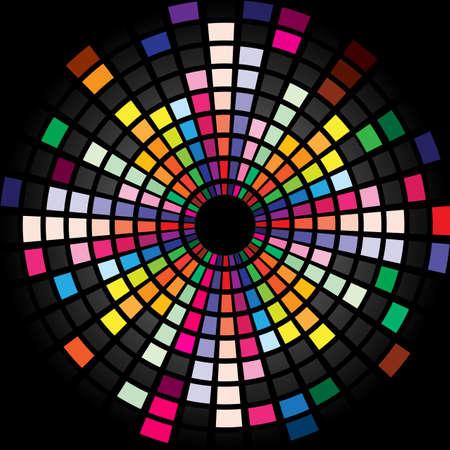 Colorida exhibición de ecualizador gráfico para el diseño de la página de título. Círculo. Ilustración de vector