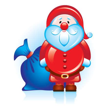 botas de navidad: Santa Claus con una bolsa azul. Vectores