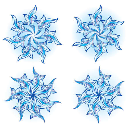Set of snowflakes on a white background. Vector