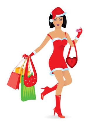 christmas market: Happy shopping caucasian girl on white background. Illustration