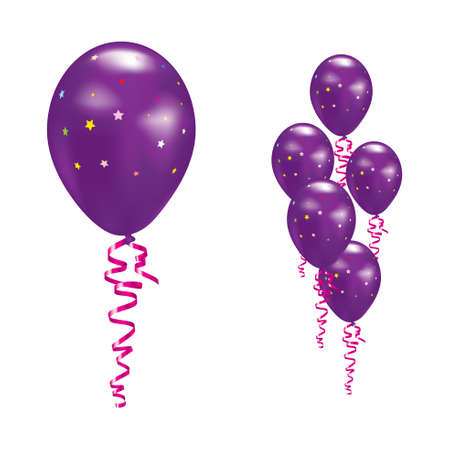 party streamers: Violet Balloons with stars and ribbons. Illustration
