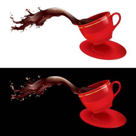chicchi caff� su sfondo bianco: illustrazione di schizzare fuori di una tazza di caff�. Disegno rosso.