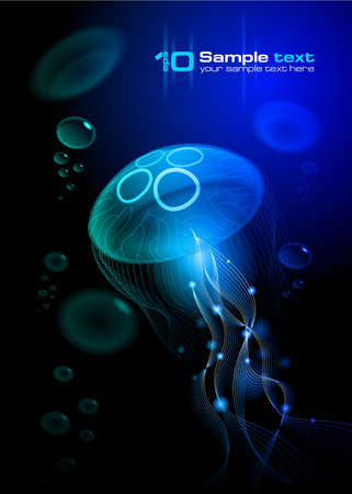 deep water: Jellyfish at the black background  Vector illustration