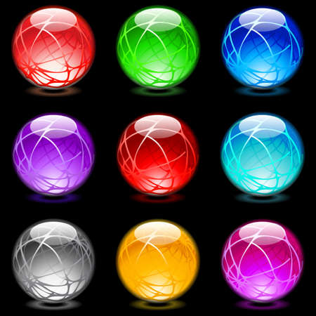 Collection of colorful glossy spheres isolated on black. Set #16 Vetores