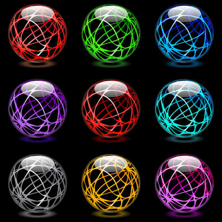 Collection of colorful glossy spheres isolated on black  Vector
