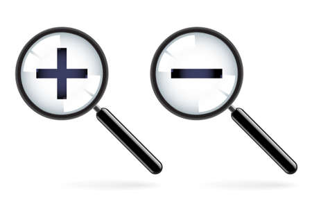 Monochromatic increase-decrease magnifiers icons. Illustration on white background for design  Vector