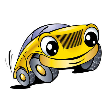 two roads: The cartoon car with smile