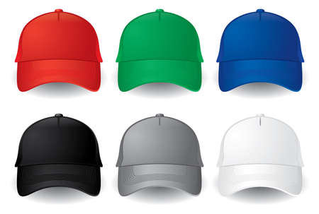 Set of solid color baseball caps isolated on white.