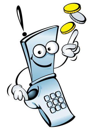 mobile communications: Funny mobile telephone, with your money. Illustration