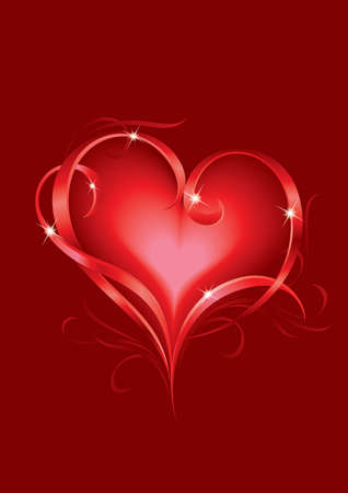 Valentines day greeting card with abstract Hearts Vector