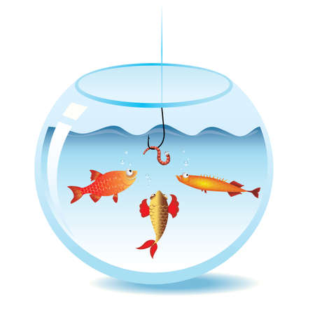 Fishing in fishbowl. Fish looking at worm on fishhook. Vector
