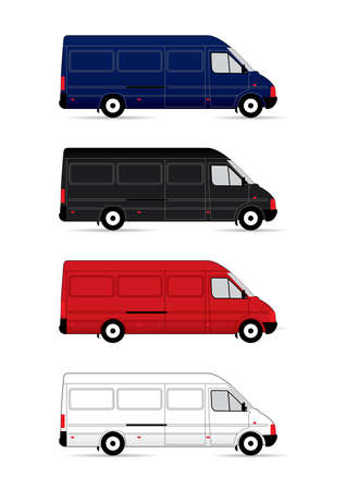 commercial painting: Isolated Delivery Vans on white background.
