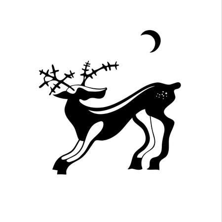white tail deer: Black illustration of a deer. Illustration
