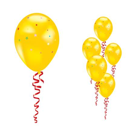 Yellow balloons with stars and ribbons. Stock Vector - 9892424