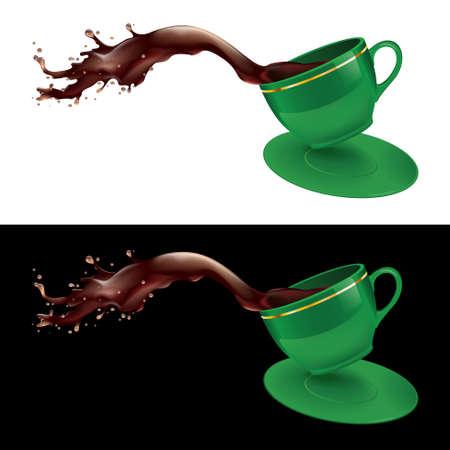 illustratie van koffie spatten uit een beker. Groen ontwerp.
