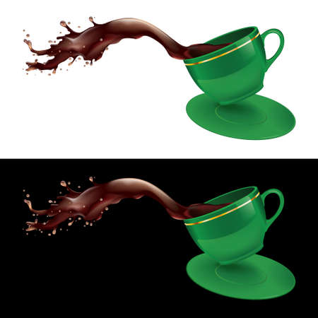 green coffee beans: illustration of coffee splashing out of a mug. Green design.