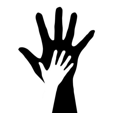 Hands silhouette. Illustration on white background. Иллюстрация