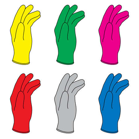 Zes illustratie van kleuren rubberen handschoenen.
