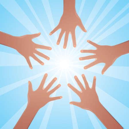 mani unite: Mani prendere il sole.