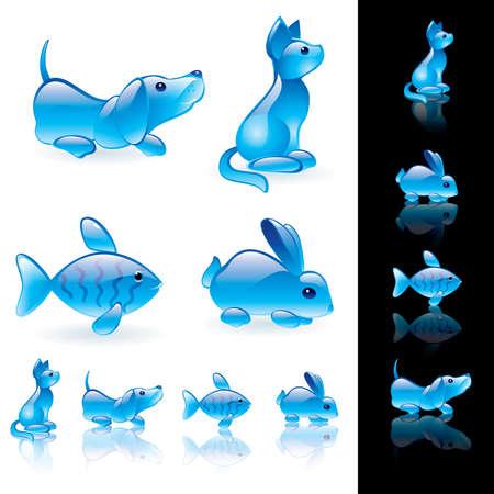 Animals crystal icon set.