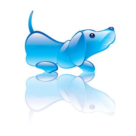 animal figurines: illustration of dog symbol. Blue transparent statuette Illustration