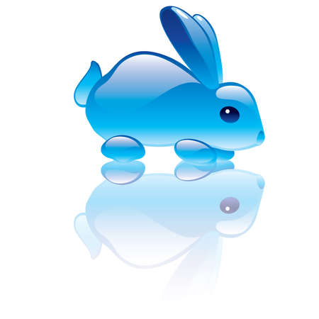 illustration of rabbit symbol. Blue transparent statuette Vector
