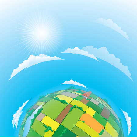 illustration of earth globe with agricultural fields Vector