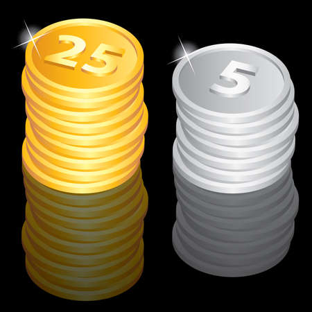 Illustration of the golden and silver coins Vector