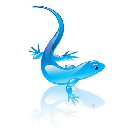 illustration of reptile symbol. Blue design. Vector