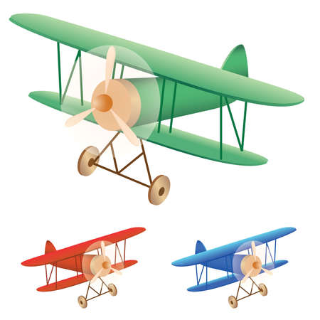 small plane: illustration set of old biplane