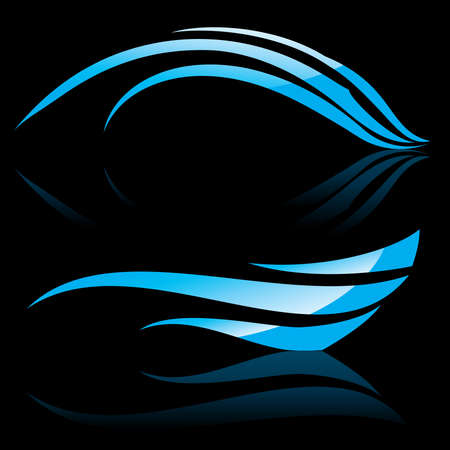 shadow effect: illustration of abstract blue waves on black background #1 Illustration