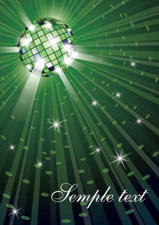 Ilustración de bola de discoteca mirror sobre fondo verde