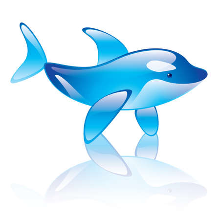 illustration of orca whale symbol on white Vector