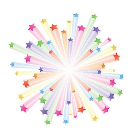 trails: illustration of colorful stars explode on white background