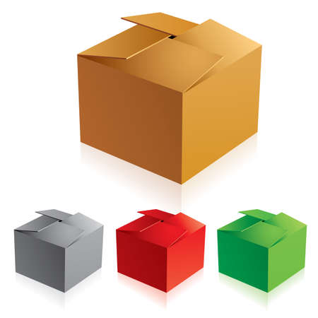 illustration of closed color cardboard boxes with bottom. Stock Vector - 9892408