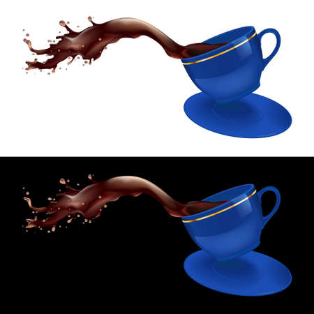 illustration of coffee splashing out of a mug. Blue design. Vector
